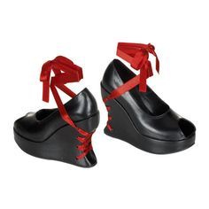 Red & Black Lace Up Corset Open Toe Platform Goth Shoes [BRA03/B/PU] - $49.99 : Uturn Utopia, Retro footwear, Rockabilly Shoes, Vintage Inspired Clothing, jewelry, Steampunk