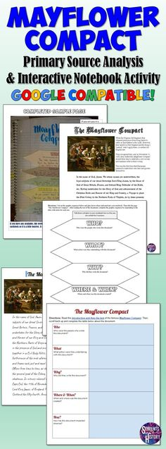 Mayflower Compact primary source analysis and interactive notebook activity! Teaching American History, Teaching History, Mayflower Compact, Middle School History, 5th Grade Social Studies, History Activities, Primary Sources, Eighth Grade, May Flowers