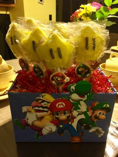 Star sugar cookie pops. Super Mario brothers birthday party theme⭐️🎉