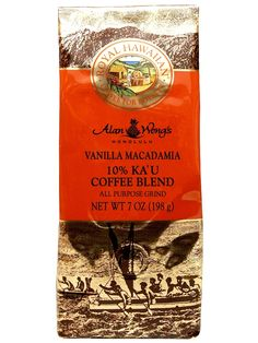 Royal Hawaiian Vanilla Macadamia - Kau Coffee Blend - 7 oz....taste the Aloha   Ka'u coffee beans are quickly becoming recognized around the globe for their intense flavor, ideal growing climate and rich coffee heritage on Hawaii Island.  Royal Hawaiian Coffee features a 10 percent Ka'u coffee bean blend developed and endorsed by world-renowned Chef Alan Wong.  Now on Sale - $8.25 Hawaiian Coffee, Blended Coffee, Coffee Creamer, Coffee Beans, Vanilla, Local Products, Globe, Inspirational, Island