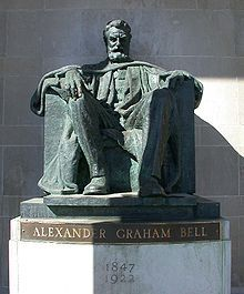 The Alexander Graham Bell statue in the front portico of the Brantford, Ontario, Bell Telephone of Canada Building. Travel Directions, Bell Home, Alexander Graham Bell, Spiritual Disciplines, Lincoln Memorial, Before Sunrise, Historical Pictures, West Indies