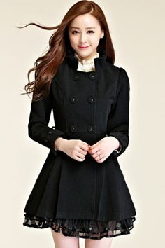 Essential Pleated A-line Coat OASAP.com