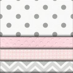 Pink and Gray Chevron fabric swatches and bedding idea