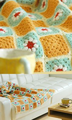 LOVE THIS! Alternating solid with fancy granny squares
