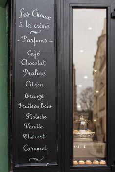 Paris Fine Art Photograph Title: Les Parfumes des Choux  Window display at Odettes on the Left Bank in Paris, serving hand-crafted Choux á la