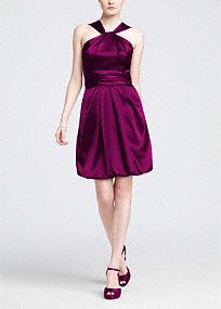 A fashion-forward choice for your bridal party, this Y-neck bubble hem dress is the ultimate in modern sophistication.  Y-neck bodice offers coverage and is elegant and unique.  Ruched waist flatters while the soft bubble hem gives this dress a fresh look.  Sleek charmeuse fabric adds a touch of glamour to any bridal party.  Fully lined. Back zip. Imported polyester. Dry clean only.  Get inspired by our colors.