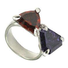 Millenium Cut Amethyst & Garnet Ring - Fashion Jewelry