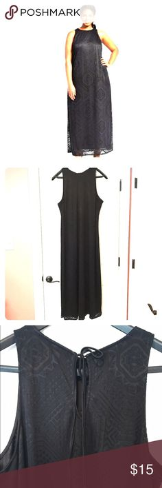 Ava & Viv Burnout Sleeveless Black Maxi Dress Beautiful dress! Light weight material, sheer burnout overlay with slip underneath. Ties at the neck. Ava & Viv Dresses Maxi