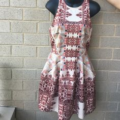 "Summer dress Very cute dress for the summer . Fabric is 95% polyester, 5% spandex . Back zipper . Brand new missing tags. Price firm . Dress length is 36"" Dresses Midi"