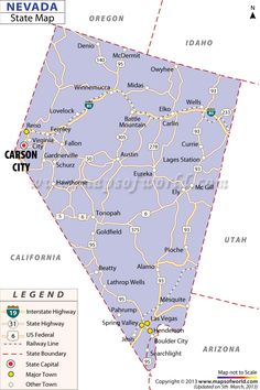 Map Of NevadaCapital Carson City Organized As A Territory - Show me a map of nevada