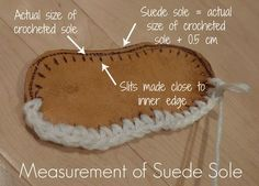 How to crochet slippers with leather/suede soles.