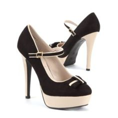 Black    and White Bow Platform Court Shoes    £24.99    Climb    sky high with these platform court shoes in a contrast black and white design    with a bow detail on the toe. Features a stiletto heel and ankle    fastening. #DoItInDenim