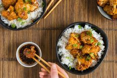 Sticky cauliflower with rice - My Kitchen Rules, Food Inspiration, Love Food, Cauliflower, Curry, Healthy Eating, Rice, Vegetarian, Favorite Recipes