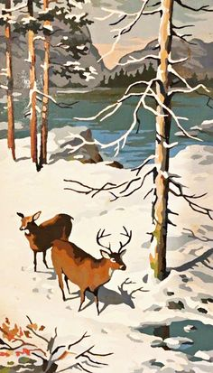 Vintage Paint by Number - Winter Painting - Deer - Rustic - Nature - Woodland Winter Painting, Love Painting, Painting Frames, Painting & Drawing, Paint By Number Vintage, Number Art, Illustration Art, Illustrations, Guache