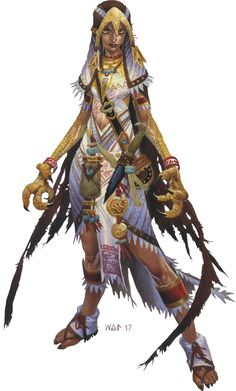 "Wayne Reynolds 2017: ""Zova the Shifter"", Pathfinder Iconic © Paizo Inc."