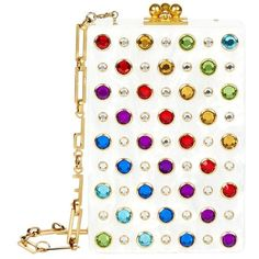 Edie Parker Rainbow Embellished Carol Clutch ($1,860) ❤ liked on Polyvore featuring bags, handbags, clutches, white purse, edie parker clutches, edie parker, sparkly purses and embellished purse