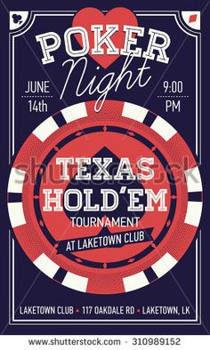 Cool Texas Hold'em poker night invite or banner template with rich lettering and casino poker chip. Ideal for printable gaming event promotion in clubs, bars, pubs and public places - stock vector