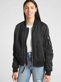 1ba79338ec5 Classic Bomber Jacket  sleeves banded Long Black Bomber Jacket Outfit