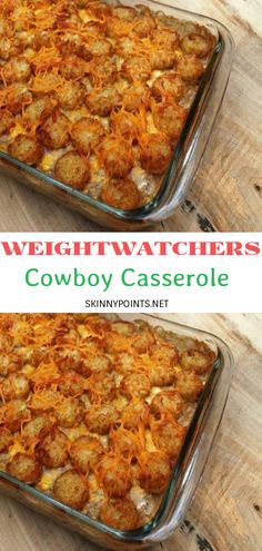 I love making casseroles with tater tots. And if it were for my kids, they'll make me prepare these casseroles everyday! Check out this lovely cowboy casserole. You'll Need: 1 ½ pounds of ground beef. Skinny Recipes, Ww Recipes, Dinner Recipes, Cooking Recipes, Healthy Recipes, Health Casserole Recipes, Tater Tot Recipes, Potato Recipes, Pasta Recipes