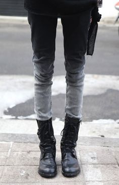 dark ombre jeans, boots