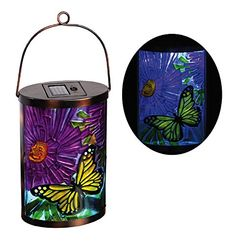 New Creative Butterfly Garden Friends Hanging Solar Lantern Solar Hanging Lanterns, Metal Lanterns, Solar Path Lights, Butterfly Gifts, Mini Greenhouse, Wind Spinners, Decks And Porches, Garden Gifts, Glass Design