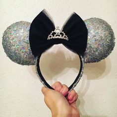 Custom crazy sparkle sequin ears with a modified bow and tiara for extra glitz