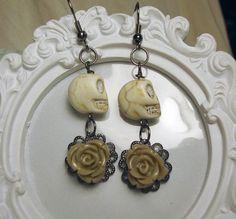 Ivory skull earrings