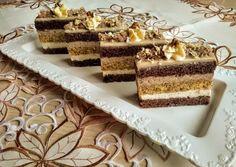 (1) Finom kakaós-diós szelet | Izabela Ráczová receptje - Cookpad receptek Hungarian Recipes, Tiramisu, Food And Drink, Favorite Recipes, Treats, Baking, Sweet, Ethnic Recipes, Cakes