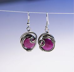 Pink jade earrings wire wrapped jewelry handmade earring wire jewelry