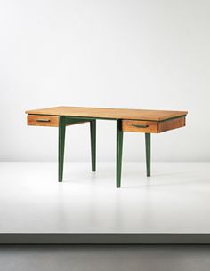 Jean Prouvé; #BS Oak and Enameled Steel 'Bureau Standard' for Les Atelier Jean Prouvé, c1942.