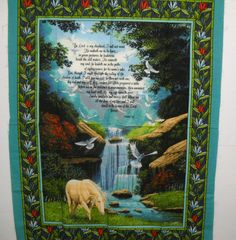 Psalm 23 The Lord is My Shepherd Religious Large Cotton Fabric Quilt Panel by SeaPillowTreasures on Etsy
