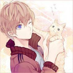 ✮ ANIME ART ✮ animal. . .cat. . .anime boy with animal. . .playful. . .silly. . .cute. . .kawaii