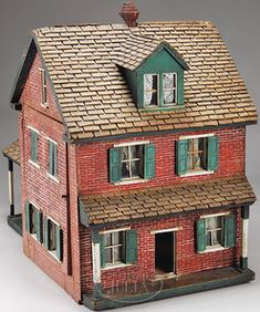dolls, Pennsylvania, Amish-built dolls' house. Circa 1895. This painted wooden brick dolls' house came directly from an Amish family.  .....Rick Maccione-Dollhouse Builder www.dollhousemansions.com