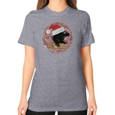 Unisex T-Shirt (on woman) - Merry Panther Christmas
