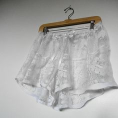 White Lingerie.  Lingerie. Eco Fashion. Womens knickers. White Lace. Upcycled Boxer Shorts. Womens Sleep Wear.. $38.00, via Etsy.