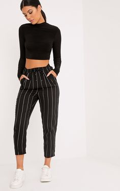Black Pinstripe Casual TrousersWork casual vibes in these trousers. Featuring a pinstripe d...