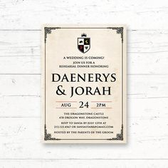 Game of thrones party gaming birthdays and 30th game of thrones rehearsal dinner engagement party invitation by crissydesignco filmwisefo Choice Image