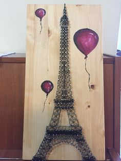 String art Eiffel Tower with Balloons String art Eiffelturm mit Luftballons by Anitasstring on Etsy Nail String Art, String Crafts, Arte Linear, Diy And Crafts, Arts And Crafts, Art Crafts, String Art Patterns, String Art Tutorials, Doily Patterns