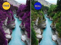 """No, that photo on the left isn't from the Fairy Pools of Scotland. As it turns out, the photo is actually an altered image from a river in Queenstown, New Zealand where someone has for some reason made all the trees purple. The unaltered image is still absolutely gorgeous. But obviously not """"viral-gorgeous,"""" since the purple-soaked image is the one that's currently making the rounds."""