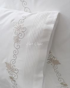 Floral Embroidery Patterns, Ribbon Embroidery, Machine Embroidery Designs, Embroidered Pillowcases, Embroidered Towels, Duvet Covers Urban Outfitters, Egyptian Cotton Sheets, Personalized Pillow Cases, Fine Linens