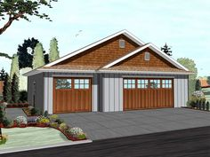 29326 Hammond This 3 car front load garage plan features a craftsman front elevation with board and batten siding and shake siding in the gables. this 3 car detached garage can house almost all of your hobbies. 3 Car Garage Plans, Garage Plans With Loft, Garage Roof, Garage Exterior, Craftsman Exterior, Garage Ideas, Garage Kits, Garage House, Dream Garage