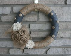 Rustic Jute and Charcoal Gray Yarn Wrapped Wreath with Burlap Flowers, Lace Flowers and Polka Dots