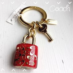 100% Auth Coach Keychain Fob~NWT~Red Lock~ NWT Coach Red Currant C Lock and Key~Color  Gold/Red~~No Trades Coach Accessories