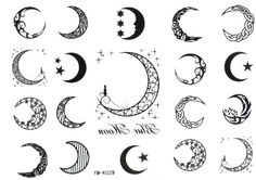 Sun, Star and Moon Tattoo Designs with meaning for on wrist, back, finger or behind the ear. Small full or half moon tattoo designs for Guys and Girls. Mini Tattoos, Love Tattoos, Beautiful Tattoos, Body Art Tattoos, New Tattoos, Small Tattoos, Tattoos For Women, Tatoos, Beautiful Moon