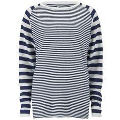Zoe Karssen Women's Linen Stripe T-Shirt - White ($180) ❤ liked on Polyvore featuring tops, t-shirts, white, crew neck t shirt, white crew neck t shirt, white t shirts, striped t shirt en long sleeve layering tee