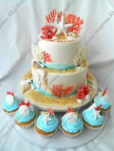 Торт на коралловую свадьбу.