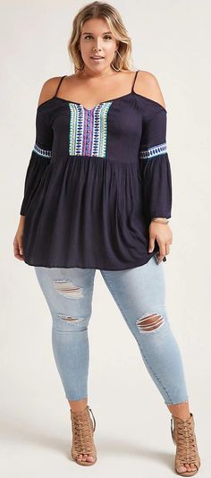 Plus Size Embroidere