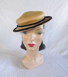 40's 50's Vintage Straw Boater Sailor Hat by by MyVintageHatShop #purseszanesvilleohio