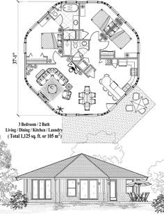 Patio Collection PT-0421 (1125 sq. ft.) 3 Bedrooms, 2 Baths