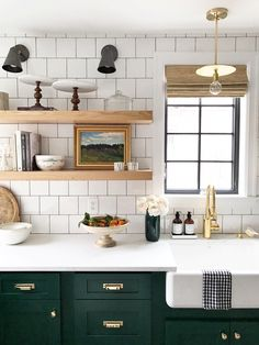 Green Kitchen with Brass Hardware by Studio McGee Square tiles, dark grout. Green Kitchen with Brass Hardware by Studio McGee Square tiles, dark grout. Dark Green Kitchen, Green Kitchen Cabinets, Kitchen Cabinet Design, Kitchen Tiles, Kitchen Colors, Kitchen Flooring, Dark Cabinets, Kitchen White, Brass Kitchen